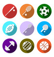 equipment for sports flat sports objects set vector image