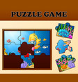 girl diving in undersea with puzzle concept vector image vector image