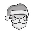 grayscale santa claus head to celebrate of vector image