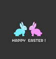 happy easter bunnies couple vector image vector image