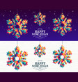 happy new year 2019 snowflake triangle hipster vector image