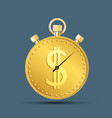 icon currency dollar sign on a sport stopwatch vector image vector image