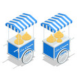 isometric street ice cream cart with awning ice vector image