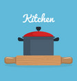 kitchen wooden roll and pot utensil icon vector image vector image