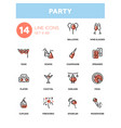 leisure concept party - line design icons set vector image vector image