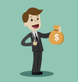 lucky businessman or manager hold a money bag vector image
