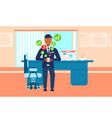 male security guard worker using mobile vector image vector image