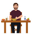 man is eating food vector image vector image