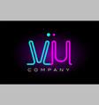 neon lights alphabet vu v u letter logo icon vector image vector image