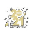 new year gold 2021 number design vector image vector image