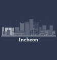 outline incheon south korea city skyline with vector image