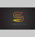 s letter design with golden outline and grunge vector image