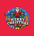 santa claus and friends greeting christmas vector image vector image