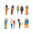 set couples in love people characters vector image