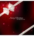 Shining red Christmas background with silk white vector image