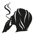 silhouette girl smokes vector image