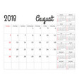 simple calendar planner for 2018 year design vector image vector image