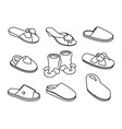 slippers sketches set vector image vector image