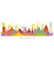 southeast asia skyline landmarks colorful vector image