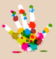 Splash Palm Hand Colorful vector image vector image
