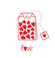 Teabag with hearts Love card vector image vector image