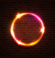 technology light background neon circle on brick vector image