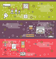 thin line art housing web banner template vector image vector image