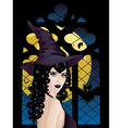 Witch near Gothic Window2 vector image vector image