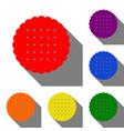 round biscuit sign set of red orange yellow vector image