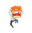 furious young redhead man screaming despair vector image