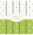 Set of green geometric floral seamless pattern vector image