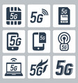 5g or 5th generation mobile network related icon vector image vector image