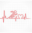 abstract running man with heartbeat vector image