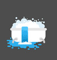 bath is clogged with water leaking out vector image vector image