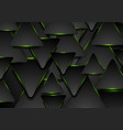 black and glowing green triangles abstract vector image vector image