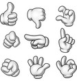 cartoon gloved hands collection vector image