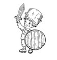 child in wooden armor engraving vector image vector image