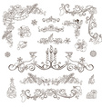 Christmas decoration set isolated on white vector image