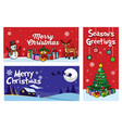 christmas flyer with cartoon style vector image