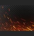 close-up hot fiery sparkles and flame particles vector image