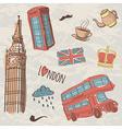 colorful set of hand-drawn London symbols vector image vector image