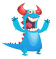 cute blue monster cartoon scares vector image vector image