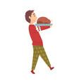 cute boy carrying delicious roast turkey vector image