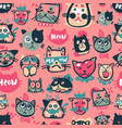cute hipster cat faces kitty pet head avatar vector image vector image