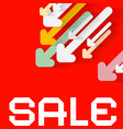 diagonal paper arrows with sale title on red vector image vector image