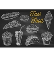 Fast food snacks and drinks chalk sketch icons vector image vector image