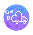 hand drawn icon of delivery truck with love vector image