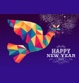 happy new year 2019 dove triangle hipster color vector image vector image