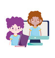 happy teachers day students boy and girl computer vector image vector image
