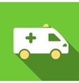 Hospital Car Flat Long Shadow Square Icon vector image vector image